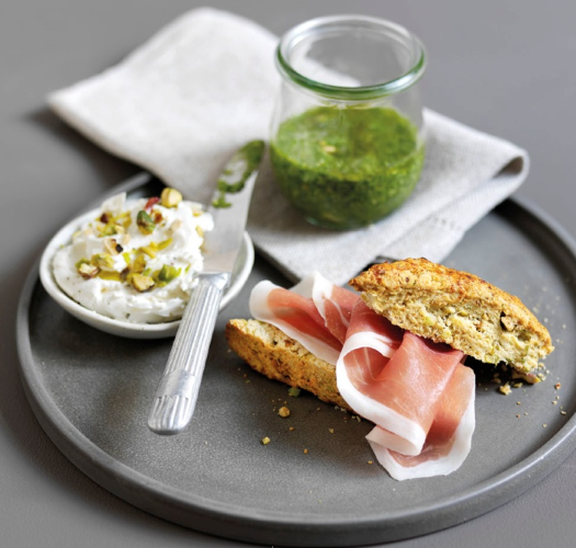 Pistachio Scones with Parma Ham, Mascarpone and Pesto